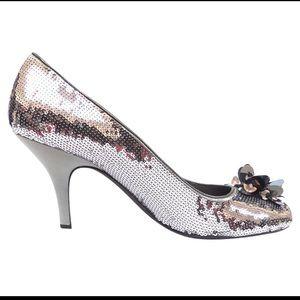 Prada sequin silver heels